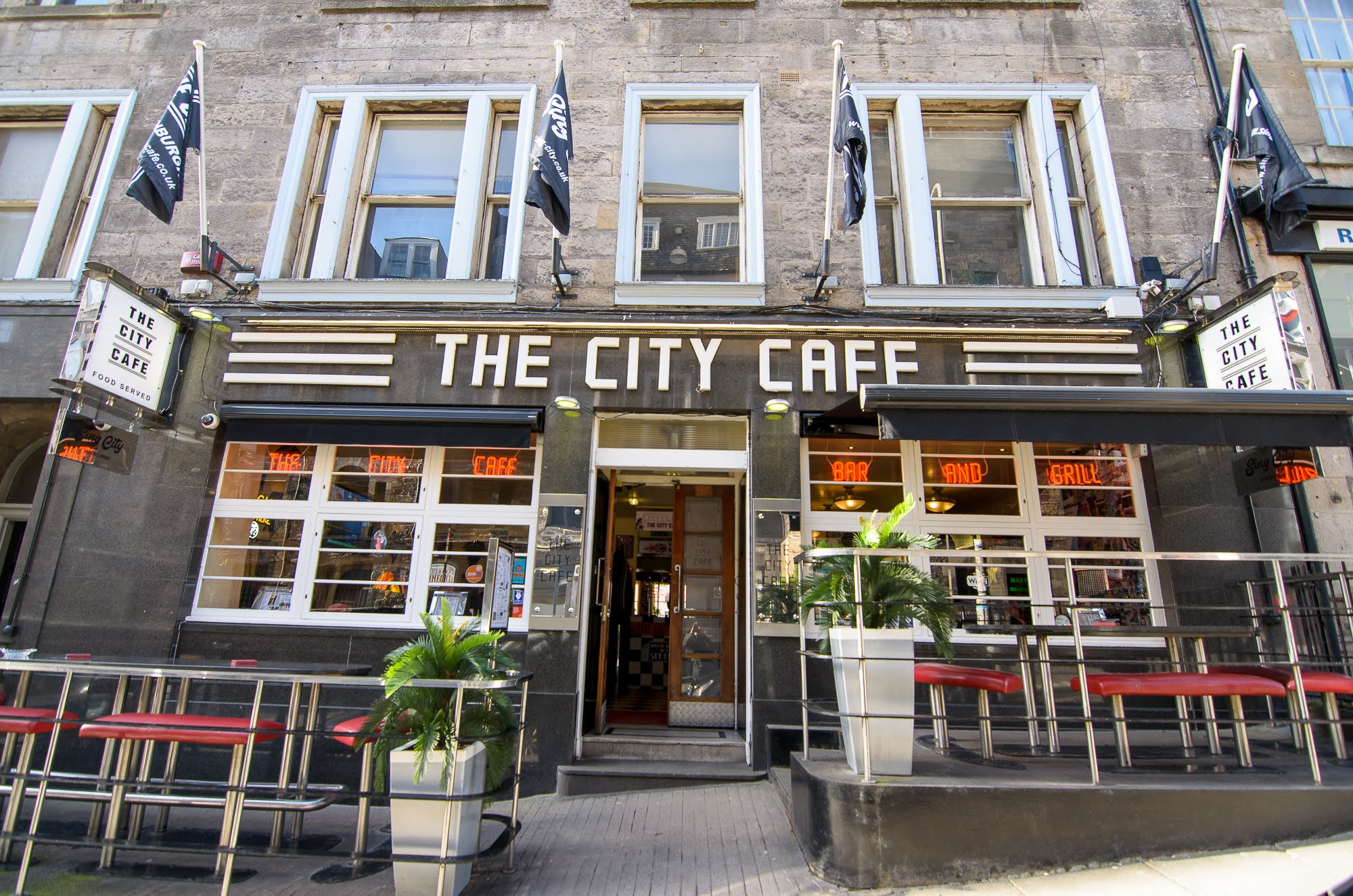 The City Cafe's entrance has a terrace