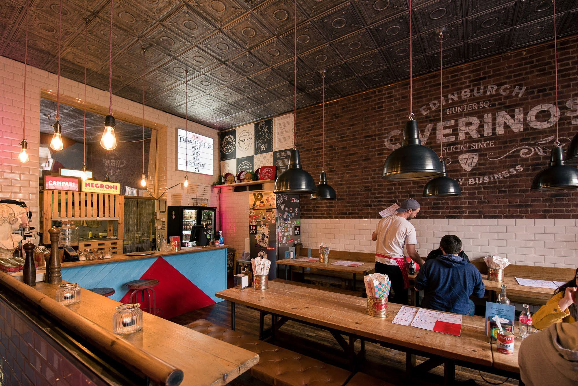 Benches inside the Italian Street Food eatery Civerinos.