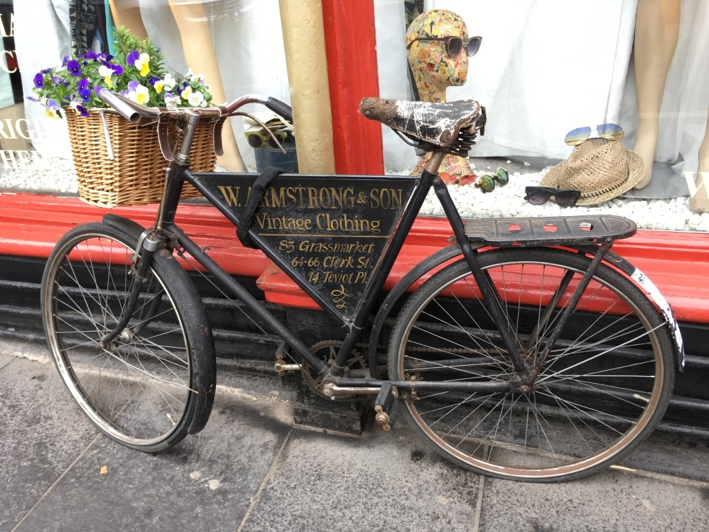 A bike advertising Armstrongs Vintage in the Grassmarket.