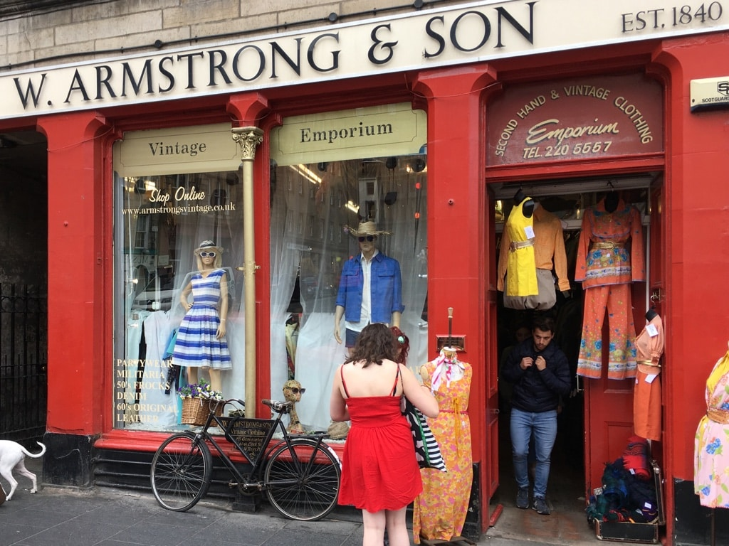 Vintage fashion second hand shop Armstrongs in the Grassmarket.