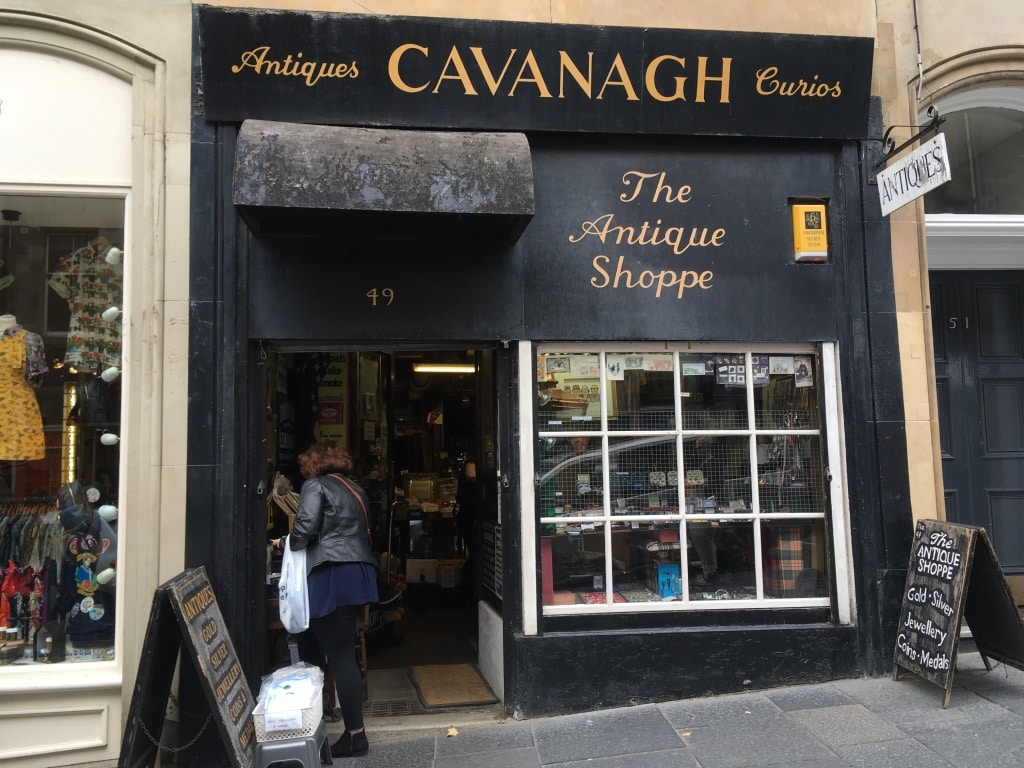 Cavanagh the antique shop front on Edinburgh's Cockburn Street.