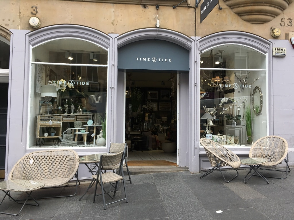 Time and Tide on Cockburn Street sells gifts, homewares and furniture.